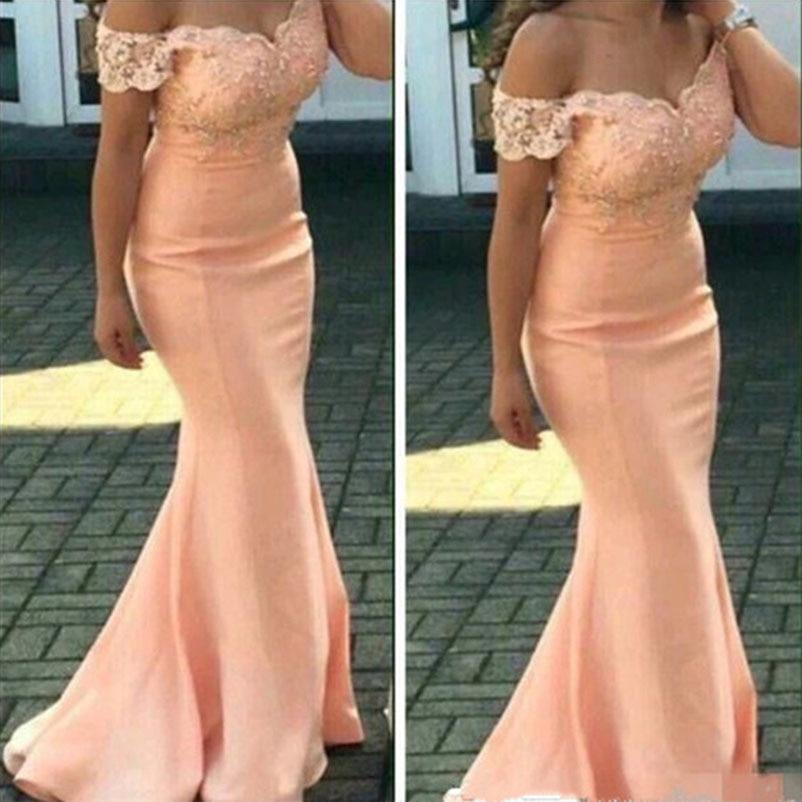 Custom Make Arabic Bridesmaids Dresses Off Shoulder Peach Mermaid Maid of the Honor Wedding Guest Dress vestido de festa longo