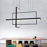 Umeilluce 현대 led 펜 던 트 조명 크리 에이 티브 기하학적 알루미늄 교수형 램프 바 침실 다이닝 룸에 대 한 스마트 와이파이 luminaria
