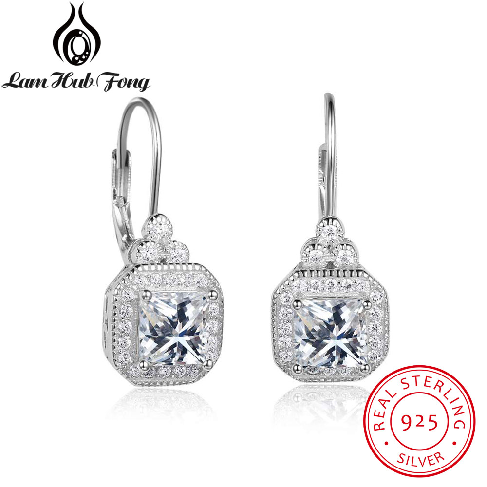 Luxury Full Cubic Zirconia Paved Hoop Earrings For Women Genuine 925 Sterling Silver Bridal Wedding Jewelry (Lam Hub Fong)Luxury Full Cubic Zirconia Paved Hoop Earrings For Women Genuine 925 Sterling Silver Bridal Wedding Jewelry (Lam Hub Fong)