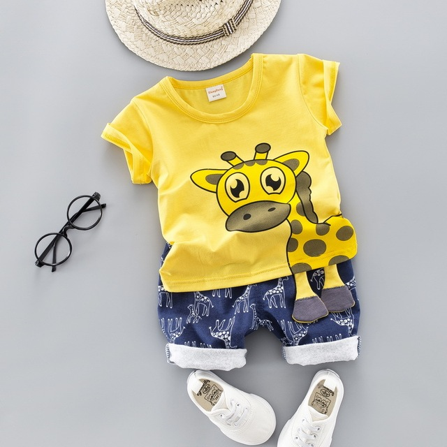 Summer Kids Baby Clothes Set for Boys Cut Cartoon Animal Infant Clothing Suit Giraffe Top T-shirt  Toddler Outfit 1 2 3 4 Years