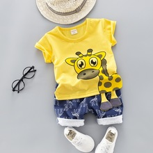 Summer Kids Baby Clothes Set for Boys Cut Cartoon Animal Infant Clothing Suit Gi