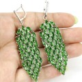 Long Big Green Emerald, White Cz Created SheCrown Woman's Wedding   Silver Earrings 75x19mm