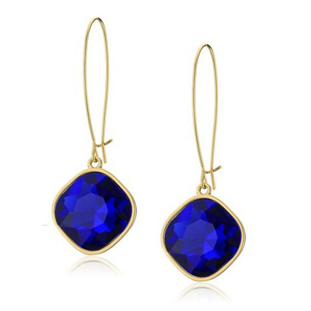 Fashion Brand Top Quality Beautiful Crystal Earrings Delicate Elegant Blue Clear Black Square Stud For