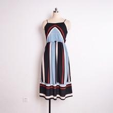 купить Color Block Casual Dress Boat Neck Chiffon Spaghetti Strap Dress Holiday Beach Stripe Dress Vestidos De Verano по цене 455.27 рублей