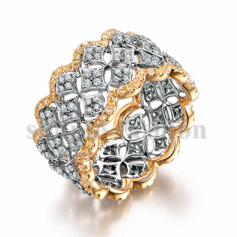 Роскошные женские обручальные кольца с широкими кругами, розовое золото, 925 пробы, серебро, модные маленькие круглые AAAAA циркониевые cz кольца, ювелирные изделия