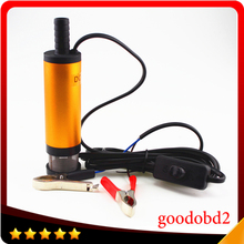 Mini 12V Diameter 38MM Electric Water Oil Car Camping Submersible Diesel Transfer Pump Oil Pump Aluminium Alloy Belt Filter Net