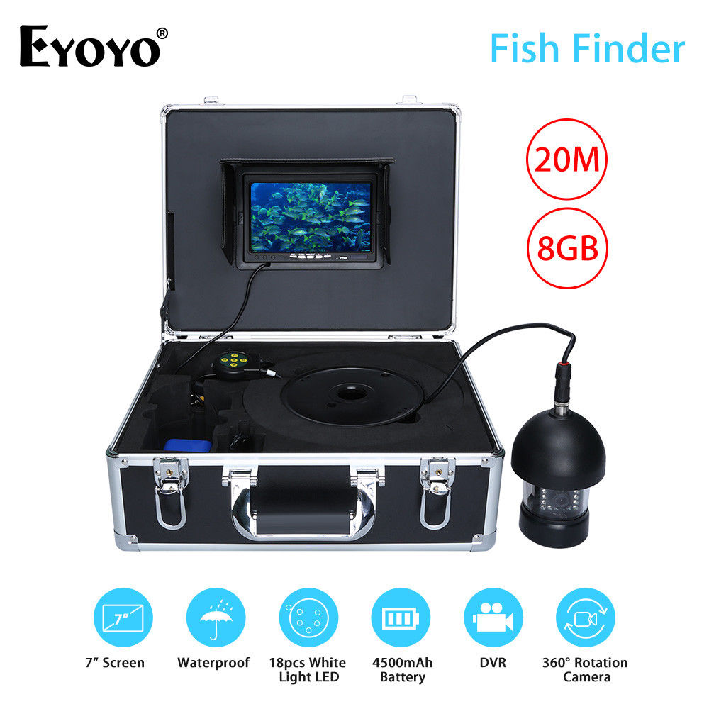 EYOYO F18 7Color Screen TFT LCD 1000TVL Underwater Fishing Camera 360degree 18LED High White Light Fish Finder With 20M Cable ostin футболка с новогодним принтом