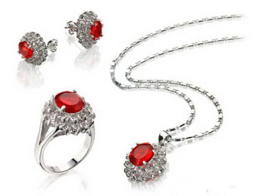 women good Red Cubic Zirconia Ruby White Gold Plated Crystal Pendant Necklace Earrings Ring 5.27