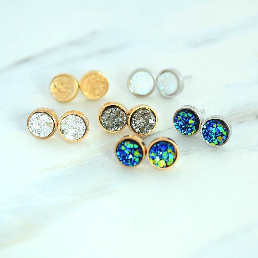 Nuevos accesorios de Moda ronda cristal de Roca diseño pendiente del perno prisi