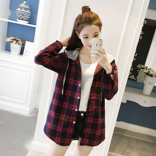 af937eae Women Tops Spring 2019 Korean Casual Preppy Style Plaid Hooded Long Sleeve  Shirt Blouse Black Red blusa feminina T188-in Blouses & Shirts from Women's  ...