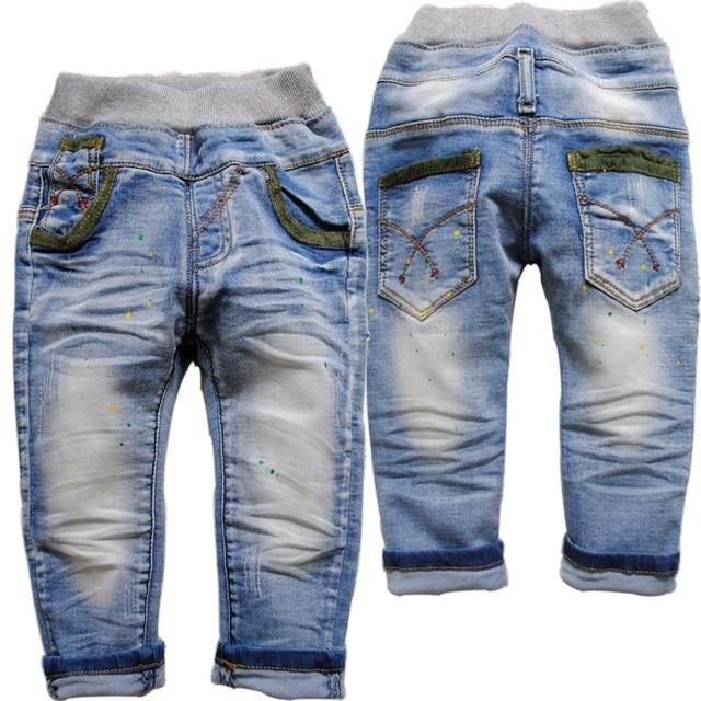 6109 краска точечные дети мальчиков джинсы девушки джинсы детские повседневные брюки светло-голубые брюки мода весна осень новый хороший