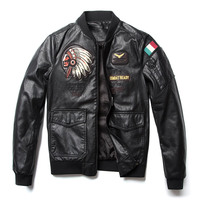 spring Autumn New Classic Brand Men Bomber PU Leather Jackets Indian Chief Embroidered male Air force flight Jacket Coats