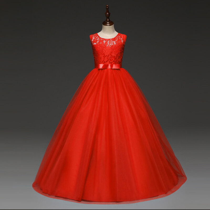 5-14 Years Kids Dresses For Girls Wedding Party Lace Girl Dress Bridesmaid Clothes Princess Teen Girl Red Tulle Evening Gowns   5-14 Years Kids Dresses For Girls Wedding Party Lace Girl Dress Bridesmaid Clothes Princess Teen Girl Red Tulle Evening Gowns