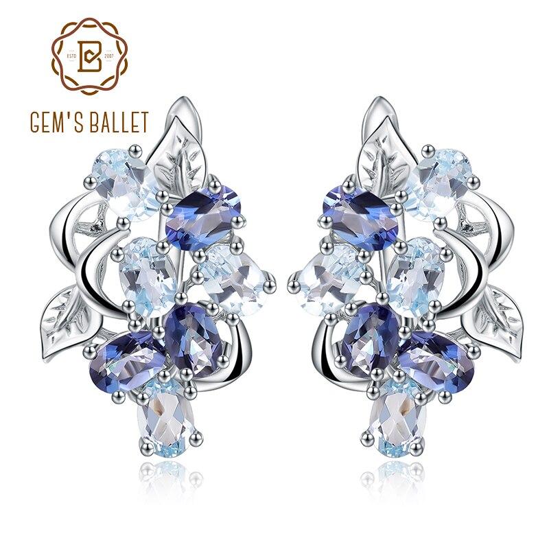 Gem s Ballet Natural Sky Blue Topaz Mystic Quartz Flower Stud Earrings 925 Sterling Silver Earrings