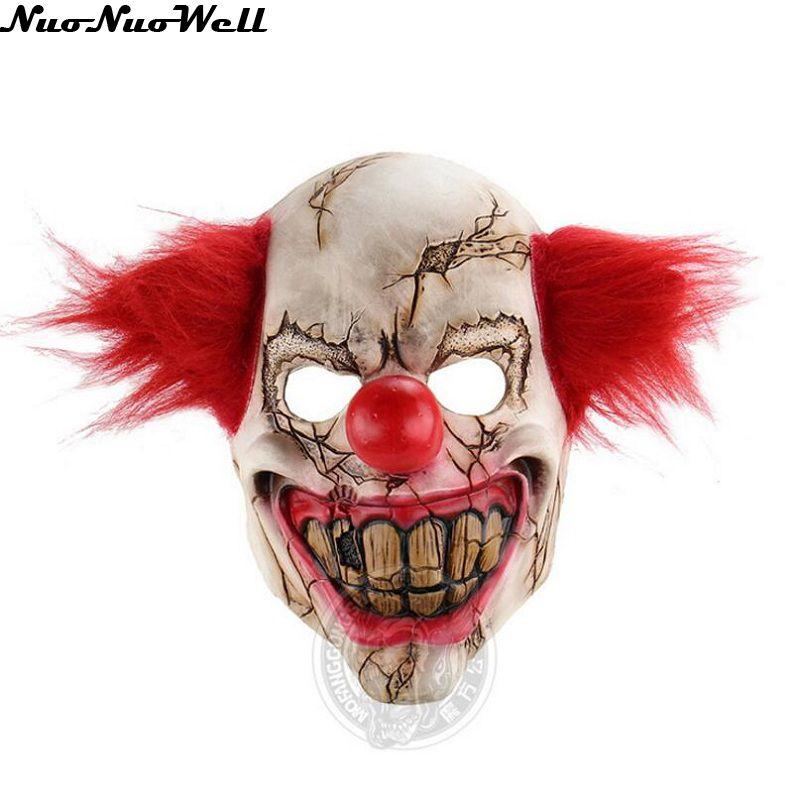Broken Face Ugly Terrifying Clown Mask Хэллоуин Red Hair - Костюмдер - фото 1