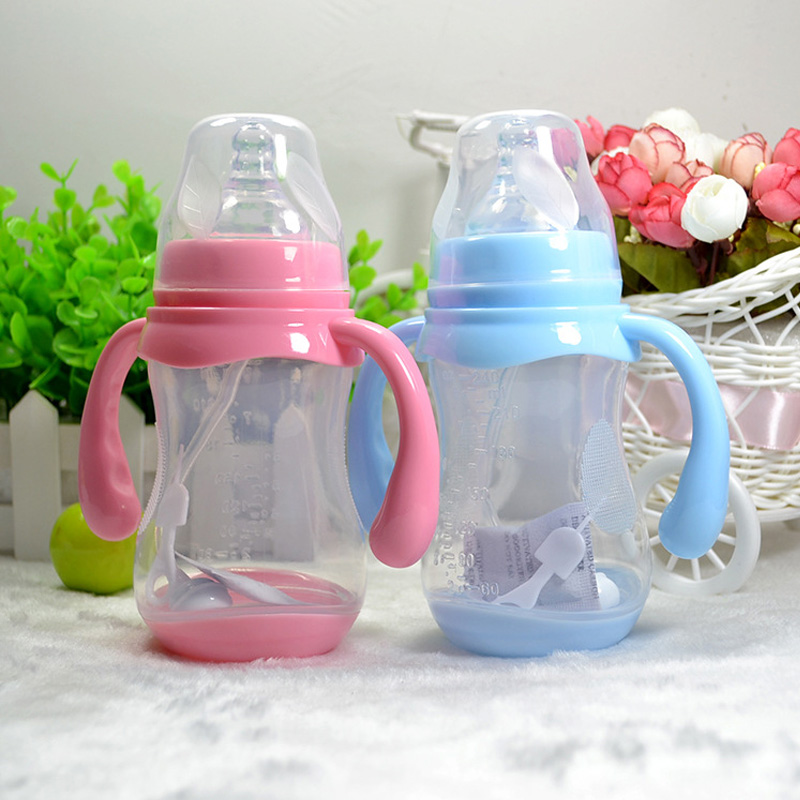 240ml Cute Baby bottle straw safe Newborn baby feeding bottles Drinking Handle Bottle Juice water milk bottle kids Training Cup