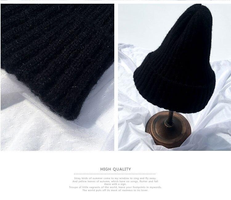 beanie women winter hats for women thick wool skullies beanies for ladies winter beanie hat solid pink black women hats winter hat  (8)
