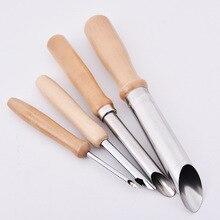Дырокол из нержавеющей стали, полукруглый дырокол, глина, резьба, деревянная ручка, дырокол, сделай сам, гончарный Пробивной процесс, вспомогательный инструмент