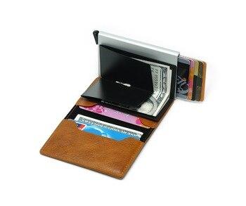 Hombres de aluminio cartera con bolsillo trasero tarjeta de identificación RFID bloqueo Cartera de Metal automático Pop up tarjeta de crédito cuero monedero