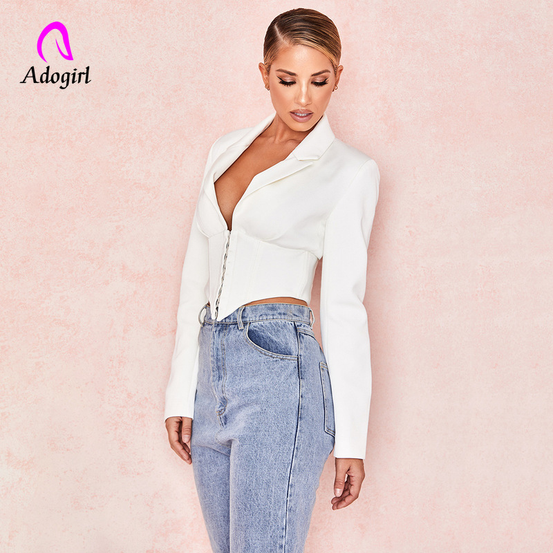 White Women Blazer Highstreet Office Lady Deep V Solid Elegant Slim Blazer 2019 Autumn Workwear Women Crop Cardigan Blazer Femme