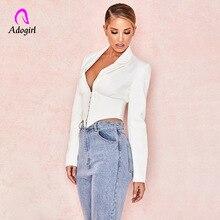 White Women Blazer Highstreet Office Lady Deep V Solid Elegant Slim 2019 Autumn Workwear Crop Cardigan Femme