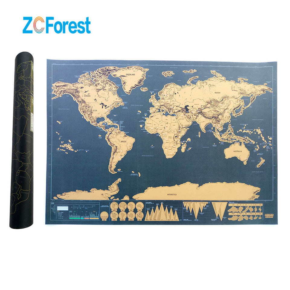 423x30cm Mini Scratch Map Travel Edition Black Deluxe Scratch Off Map  Personalized World Map Poster