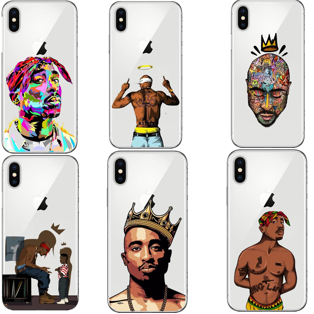 2pac Makaveli Tupac Amaru Shakur Soft Silicone Phone Cover Case For Iphone 5 5s Se 6 6s 6plus 6s Plus 7 7plus 8 8plus X Cases