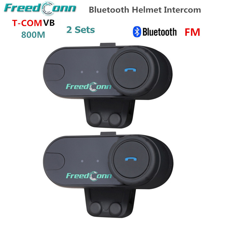 2PC Freedconn T-COMVB 800M Motobike Wireless BT Interphone Earphones Full Duplex Motocycle Bluetooth Helmet Intercom Headset+FM t comvb bt wireless intercomunicador interphone headset 800m bluetooth motorcycle helmet intercom walkie talkie fm soft earpiece