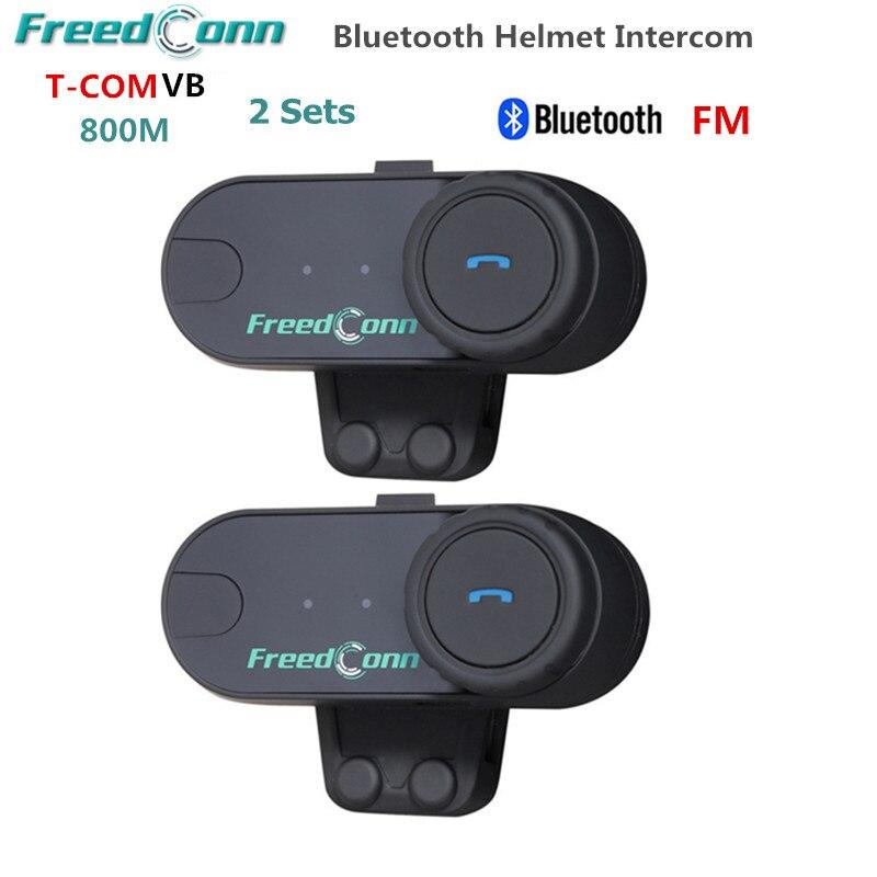 2 pc Freedconn T-COMVB 800 m Motobike Sans Fil BT Interphone Écouteurs Full Duplex Moto Bluetooth Casque Intercom Casque + FM