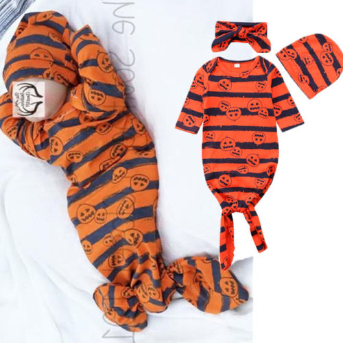 2018 New Halloween Pumpkin Infant Blanket Sleeper Kid Baby Boy Girl Sleepwear Clothes Set Toddler Halloween Pajamas Gown+Hat