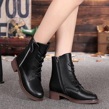 Women's boots 2016 new winter boots Martin cowhide genuine leather in with high-top shoes casual ankle boots, free shipping