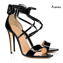Aiyoway 2019 Spring Women Shoes Peep Toe High Heels Sandals Ankle Buckle Cross Strap Ladies Wedding Party Shoes Black Red White lace design spring winter wedding women peep toe zipper shoes solid white red thin high heels sweet fretwork ankle boots women