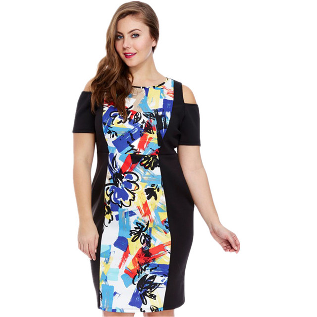 d14a991ba627 Cfanny 2016 Abstract Print Cold Shoulder Curvy Dress Women Sexy Off the  Shoulder Autumn Dress Plus Size XXL Party Office Dress