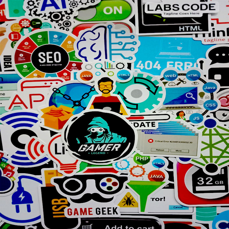 50 PCS Cool Programming Stickers Logo Internet Software Sticker Funny Gift for Geeks Hackers Developers to DIY Laptop Phone  3