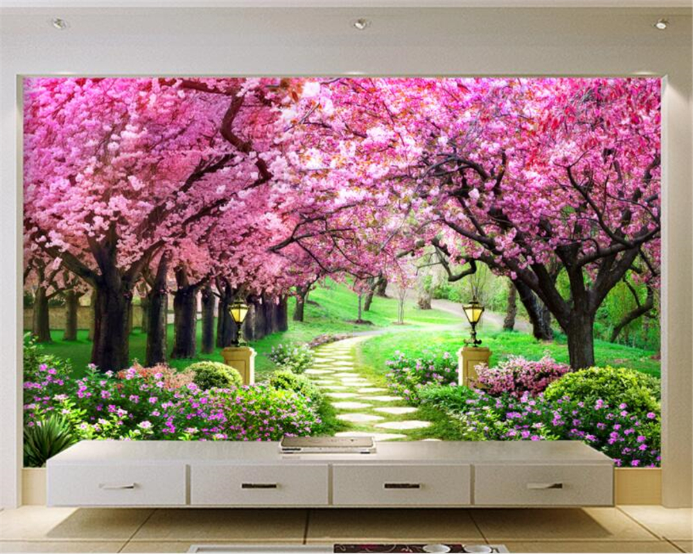 Beibehang custom 3d wallpaper sakura woods garden path for Deer landscape wall mural