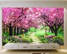 beibehang Custom 3D Wallpaper Sakura woods garden path landscape wall background photo wall mural  wallpaper papel murals
