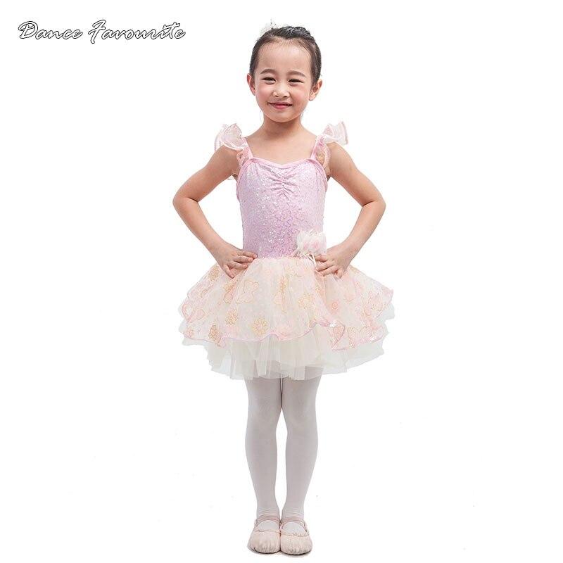 Dance Favourite New design pink sequin spandex bodice ballet costume tutu girl stage dance tutu ballrina costume tutu