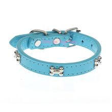 Adjustable, durable PU dog Leather Collar with mini bones