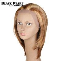 Noir Perle Court Brun Blonde Perruques de Cheveux Humains Pour Les Femmes Noires court Bob Avant de Lacet Perruque Courte Droite Remy Cheveux Partie Perruque