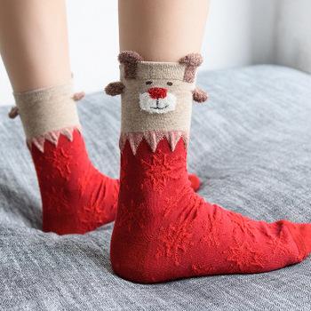 Boże narodzenie pończochy czerwone natal roku czerwone skarpety cartoon skarpetki prezent na Boże Narodzenie jesień i zima nowy boże narodzenie pończochy bawełniane kobiet tanie i dobre opinie k56332 COTTON