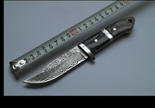 damascus camping  knives outdoor survival damascus steel hunting knives ox horn handle amry knife damascus steel