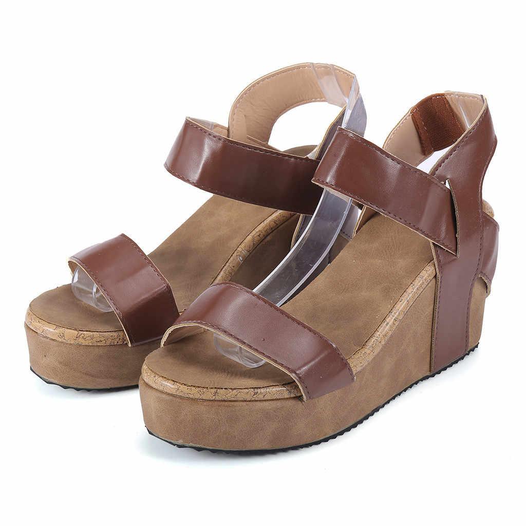 Chaussures sandales compensées femmes Zapatos De Mujer femme bout ouvert respirant sandales De plage Rome bandeau élastique chaussures compensées décontractées