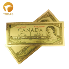 Color Canada Banknotes 1 Dollar Gold in 24K Plated for Gift 10pcs/lot