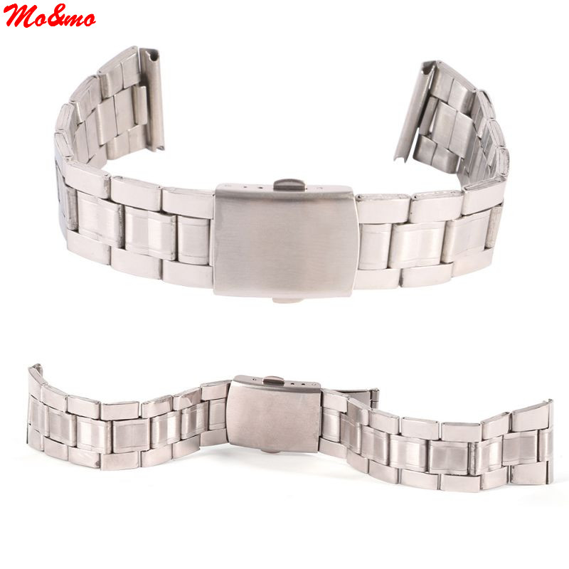 Stainless Steel Watchband Link Bracelet Stainless Steel Plane Clasp Button Watch Strap Lug Width18mm /20mm /22mm 18mm 20mm 22mm genuine leather bracelet watchband with stainless steel clasp handmade watch strap accessories 19 kinds colors