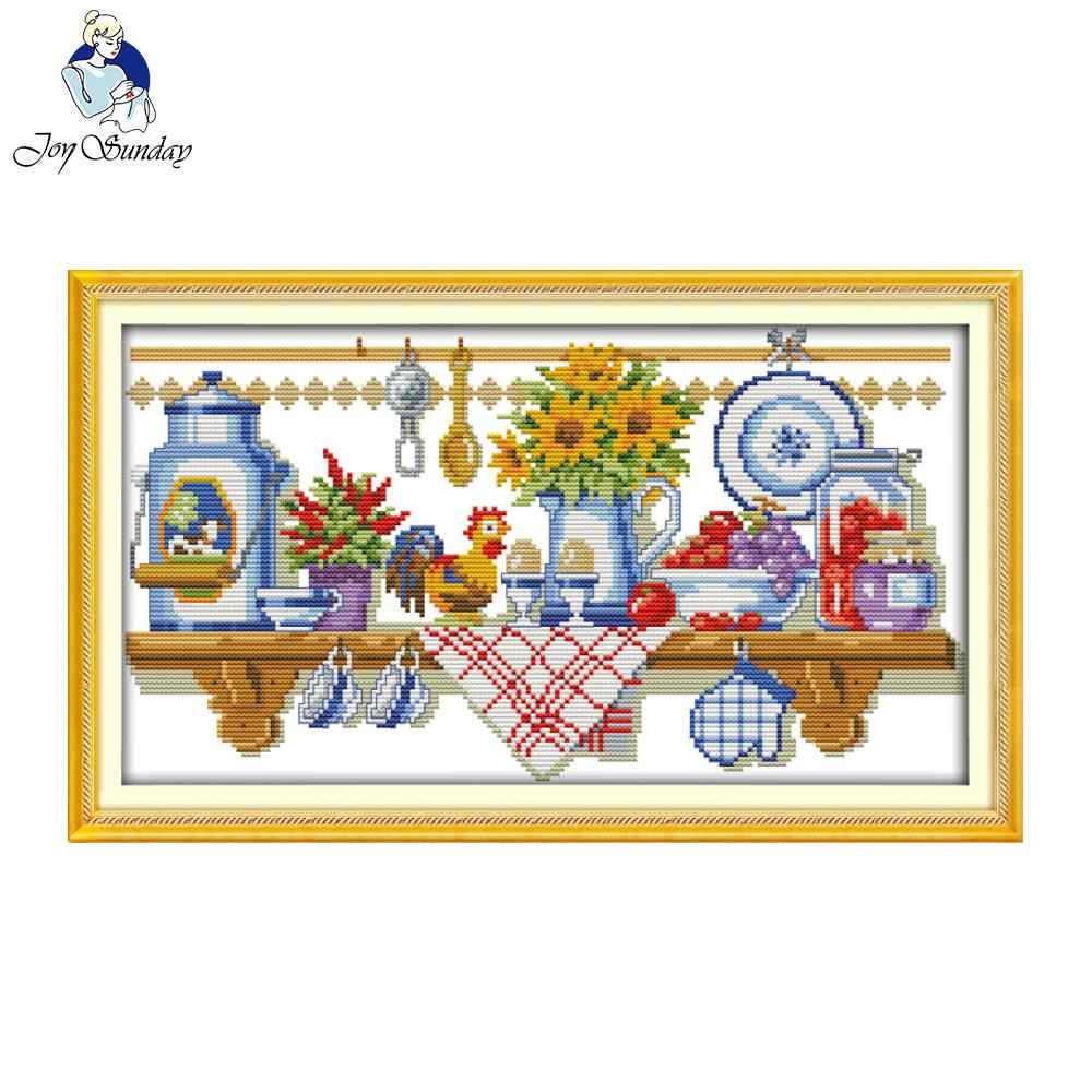 Joy Sunday The Kitchen Corner Printed Counted Stitching 11CT 14CT DIY Cross Stitch Kit For Embroidery Home Wal Decor Needlework