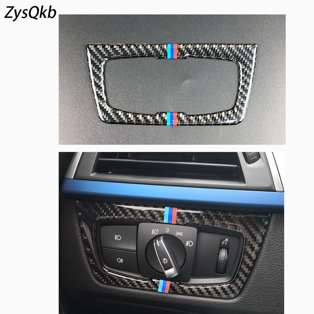 a4cfbb4b6f35 Carbon Fiber Headlight Switch Buttons Decorative Frame Cover Trim Dashboard  Interior Molding Sticker for BMW F30 F34 Car Styling