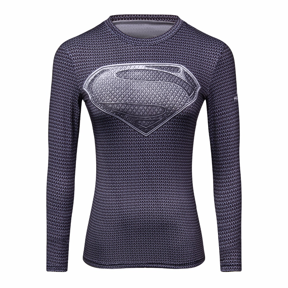 2017 red flash 3 d printing T-shirt women compression ladies long sleeve clothing fitness slim women clothe