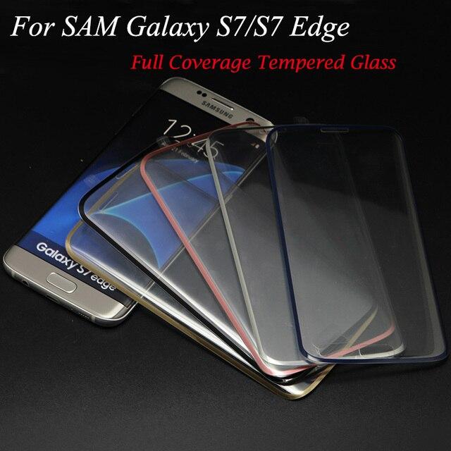 30 unids/lote 3d chapado curvada 9 h vidrio templado para el samsung galaxy s7 edge g9350 cobertura completa protector de pantalla de cine
