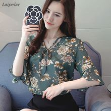 Women Summer Tops Chiffon Blouses And Shirts Ladies Floral Print Feminine Blouse Flared Sleeves Blusa Feminina Loose Tops Female grey round neck flared sleeves blouse