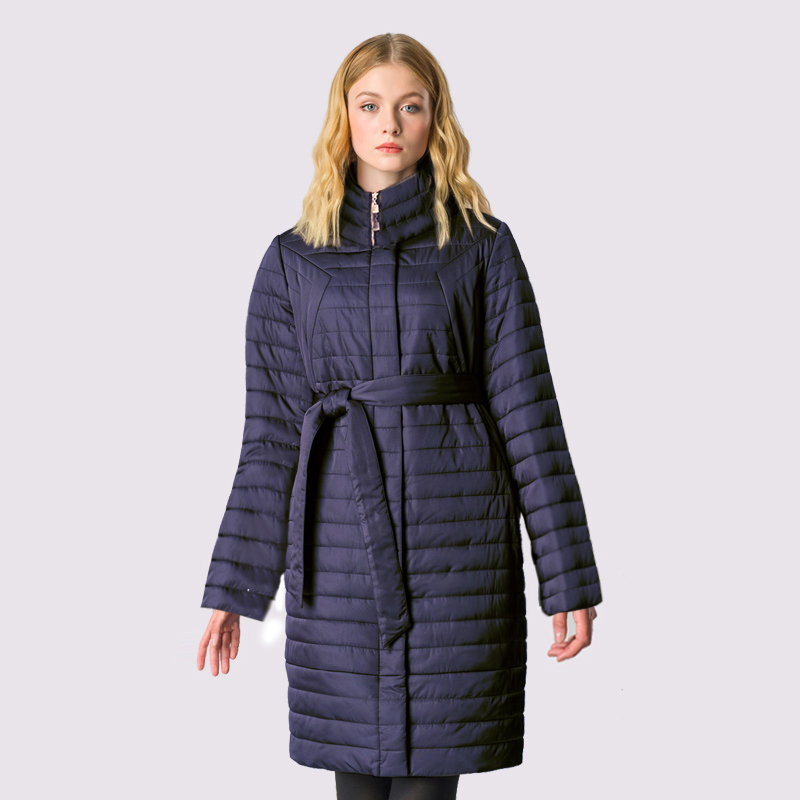 2019 High Quality Spring Autum Women's   Parka   Windproof Thin Women Coat Long Plus Size Quilting Cotton Standing Collar Jackets